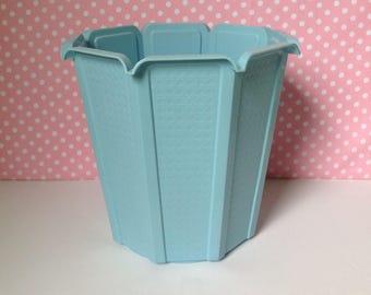 Vintage blue trash can, waste basket, light blue trash can, retro trashcan, rubbermaid trashcan,