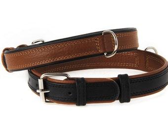 DOG COLLAR LEATHER Premium Double Ply Soft Padded Floater Black & Brown Sizes xs s m l xl xxl Plain Heavy Duty Flat Sturdy New Pet Fashion