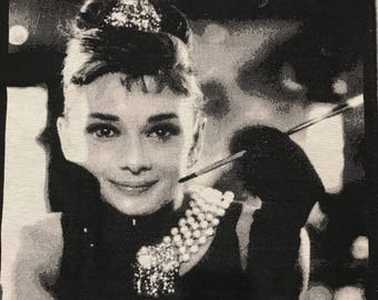 Large Audrey Hepburn Tapestry Fabric Craft Panel . Pictorial Craft Ideas from Australia. Breakfast at Tiffany's