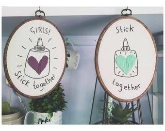 Girl gang embroidered hoop! Girls support girls!!
