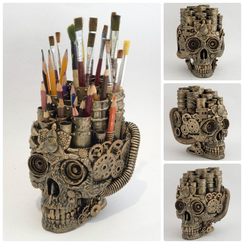 Steampunk skull organizer home decor for Skull home decor