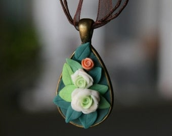 Roses pendant and necklace!   nature clay pendant, white, green, gift for her, cold porcelain white roses forest woodland nymph