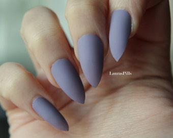 Grey purple stiletto false nails! Matte or glossy Nude Beige greige mauve pink fake nails