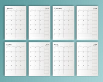 Monthly Dated Planner 2017 Half Letter Inserts HalfSize Printable Calendar Filofax Refills 2017 Mid Year Planner Instant Download PDF