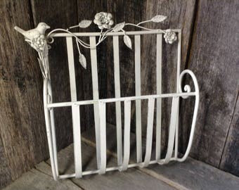 175 - Magazine Rack - Metal - Vintage - Ornate - Indoor Decor - Outdoor Decor - Wall hanging - Heirloom White - Distressed