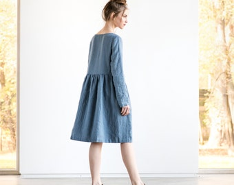 Linen loose dress with long sleeves / Washed and soft linen dress in petrol blue