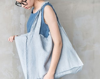 Large linen tote bag / linen beach bag / linen shopping bag in ice blue/silver grey