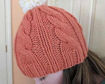 Hand Knit Wool Cable Hat in Pumpkin Orange/ Hand Knit Pom Pom Hat /