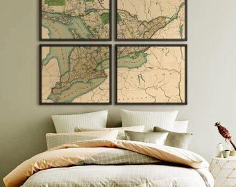 """Ontario map 1908, XL vintage map of Ontario, 7 sizes up to 72x60"""" in 1 or 4 parts, SE Ontario Canada, also blue - Limited Edition of 100"""