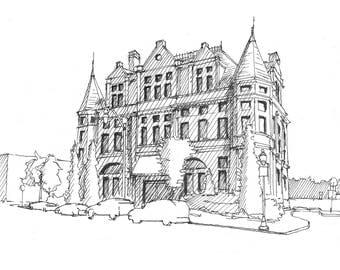 Ink sketch of old police station in Hamden, Baltimore