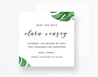 Green Save the Date, Monstera Leaves Wedding Invitation, Hawaii Save the Date, Tropical Wedding, Leaves Save the Date, Hawaii Wedding Invite