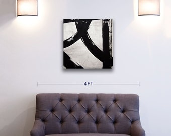ORIGINAL Black and White Modern Art Abstract Painting Wall Decor Recycled Mixed Media Acrylic Painting on Sailcloth, Toronto