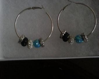 Black,  White,  & Blue Hoop Earrings