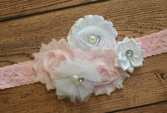 White light pink headband, Shabby Flowers Baby Headband, Newborn Headband,  Infant Headband,Baby Headband, Headband Baby