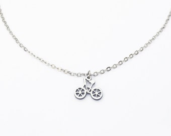 Womens Necklace Bicycle Necklace Silver Bicycle Charm Necklace Bike Cycling Gifts Bicycle Jewelry