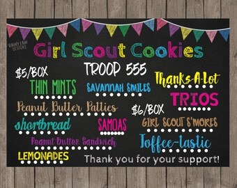 Girl Scout Cookies Sign, Girl Scout Printable Sales Sign, Girl Scout Cookie Booth Banner, Girl Scout Cookie Printable Chalkboard Poster