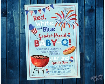 Red White and Blue Baby-Q Invitation, Gender Reveal Baby-Q, Gender Reveal Invite, 4th of July, BBQ Invite, Fourth of July, Watercolor, BabyQ