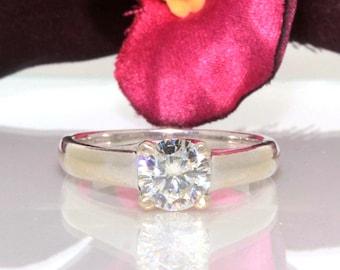14k White gold Genuine VVS round Brilliant Moissanite Solitaire ring band 1.00ct
