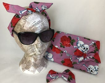 Retro lilac skulls & roses clutch bag ~ Matching hair accessories, headband and bow clip ~ Vintage Rockabilly 40s and 50s ~ Goodwood style x