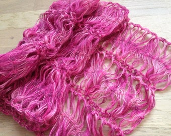 Hairpin Loom Scarf / Crochet neck warm/ Crochet Pink Scarf/ Bohemia Crochet Lace scarf/ Hairpin Crochet Scarf/ Pink Lace Scarf/ Gift for mom