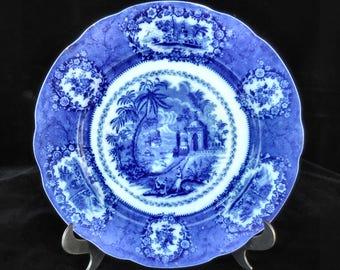 Ridgeway Flow Blue Plate in the Oriental pattern