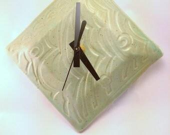 Textured Square Clock, Chameleon Green