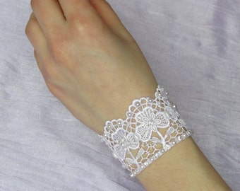 Elegant bridal lace wedding bracelet with flower pattern and embroidery, Wedding lace jewelry, Wedding flower bracelet, Lace flower cuff