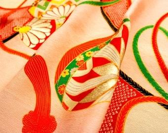 "Vintage Japanese girl's kimono fabric **Ball**136cm(53.5"")"