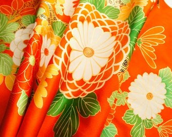 "Brand New ""Retro Big Orange Mum"" Retro Yuuzen kimono silk fabric"