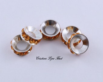 5 spacer style european with Rhinestone color Amber !