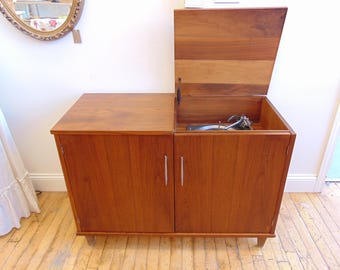 Mid Century Walnut Record Cabinet with Working Garrard Record Player