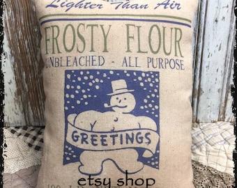Handmade Primitive Snowman Flour Feedsack Style Pillow or Panel