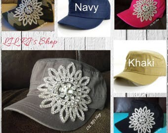 Womens Hats, Womans Bling Rhinestone Cadet Cap, Military Style Hat