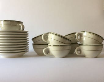 10 vintage diner coffee cups and saucers