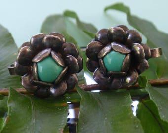 Sterling Turquoise earrings, vintage screwback