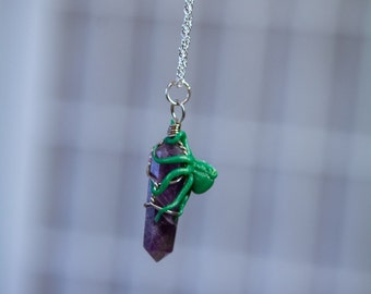 Green Octopus onAmethyst crystal point.