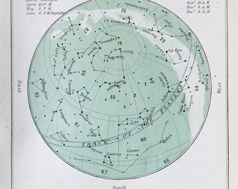 Antique Astronomy Print -  Celestial Star Chart for March, Colour Astronomical Print c. 1900