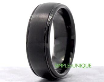mens black wedding band tungsten carbide durable weight 8mm width husband boyfriend fiance gift for him promise ring - Black Wedding Ring For Him