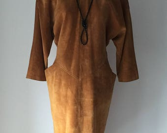 Super cool vintage suede Emily Daniell dress 1980's