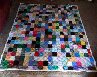 Scrappy Patchwork Quilt - XL Twin Size Quilt
