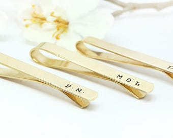 Personalized Tie Clip- Hand Stamped Brass Tie Bar- Groom's gift- Father of the Bride- Wedding Accessories, Groomsman Gift, Anniversary
