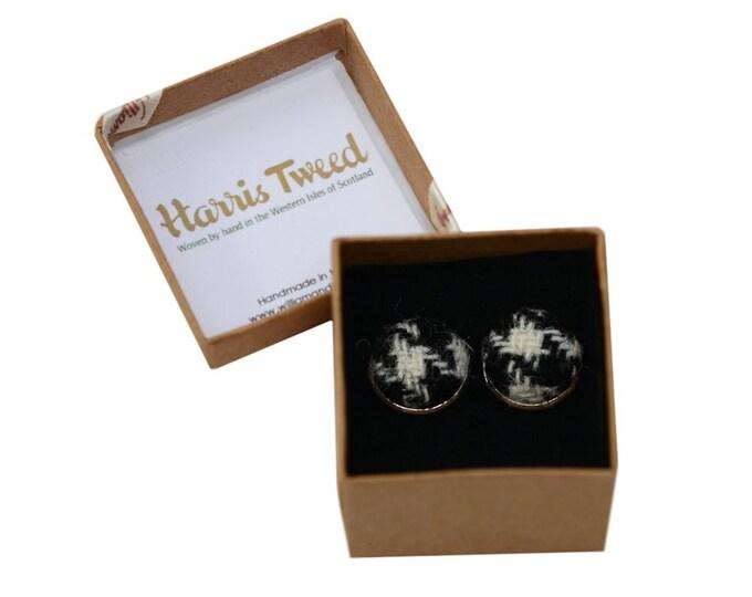 Harris Tweed Black Houndstooth Handmade Boxed Cufflinks
