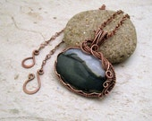Wire Wrapped Pendant - Valentine's Day - 7th Anniversary Present - Moss Agate - Most Sold Item - Rustic Wedding - Fearless Creations