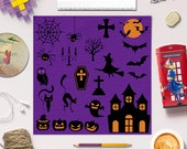 Halloween Clip Art, Halloween Illustration, Spider, Pumpkin, Witch, Ghost, 21 Halloween Silhouettes,  EPS and PNG files, BUY7FOR10