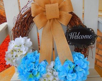 Year Round Wreath, Hydrangea Wreath, Spring Wreath, Summer Wreath, Mother's Day Gift, Housewarming Gift, Monogram Wreath, Chevron Bow