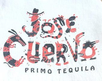 90s JOSE CUERVO PRIMO Tequila Southwest Folk Art Graphic Tank Top T-Shirt / Size X-Large