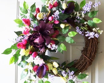 Spring Wreath,Purple Lily Calla Lilies White Tulips Wreath Large Wreath