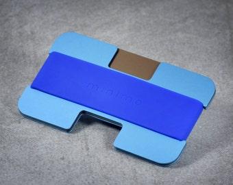 Minimo wallet | silver, brown + blue | minimalist, slim wallet, card wallet, travel wallet