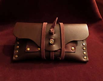 leather brown tobacco pouch brass age paper holder