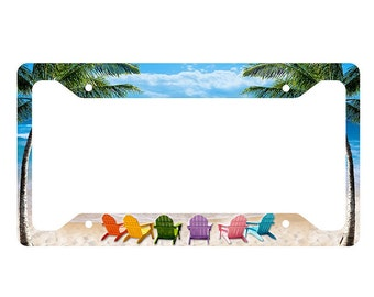 Beach Chairs License Plate Frame